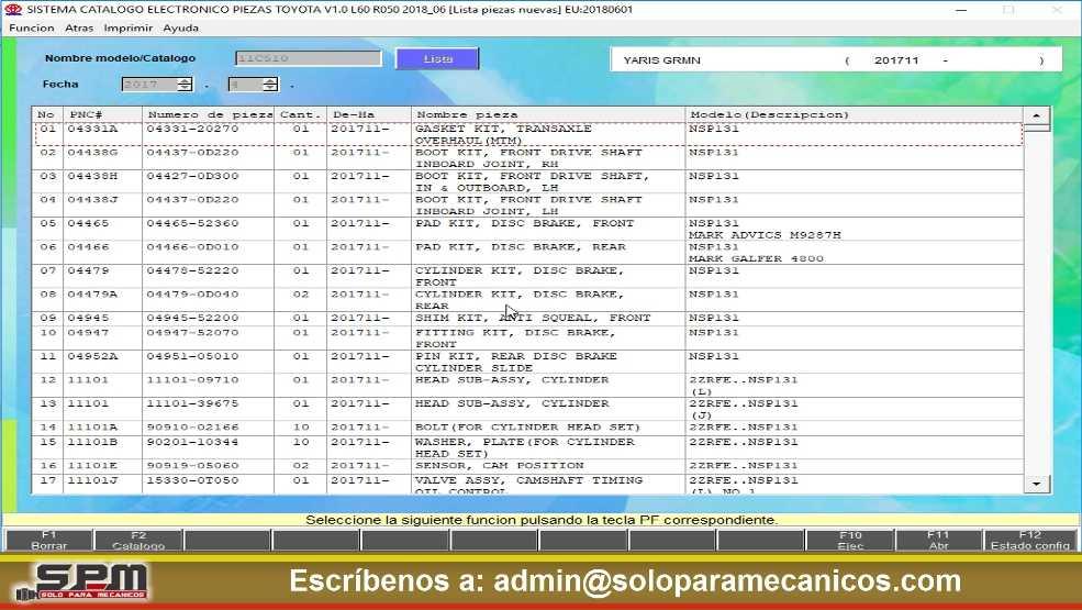 Catalogo de piezas TOYOTA EPC Listado de Piezas